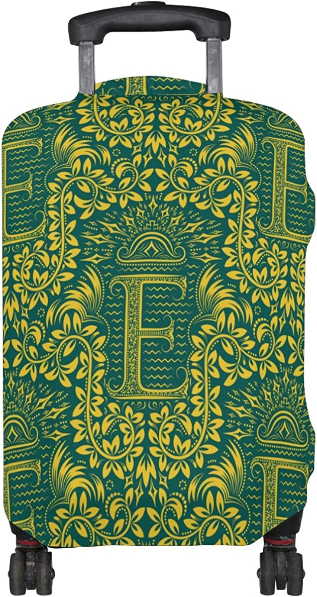 """Baroque Flower Pattern Alphabet Letter /""""E/"""" Luggage Cover Travel Suitcase Protector Fits 18-21 Inch Luggage"""