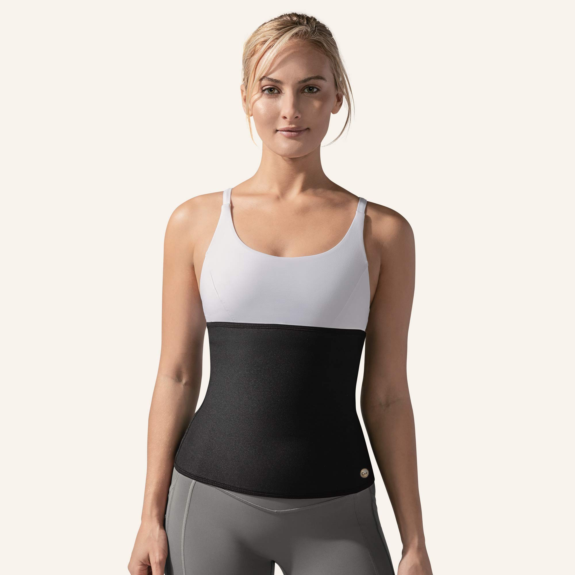 Copper Slim Compression Waist Belt for Women - Workout Belt Increases Sweat & Circulation (Black, S)