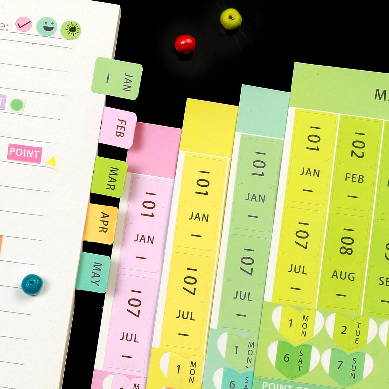 leeloon 40/Blatt Index Reminder Aufkleber Kalender Monatliche Index DIY Book Event Diary Scrapbook Pers/önlichen Planer Papier//PVC Selbstklebend Etiketten
