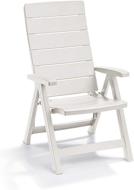 Keter - Silla reclinable de jardín exterior Brasilia, Color blanco: Amazon.es: Jardín