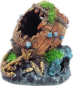 """Gumolutin Fish Tank Aquarium Decorations Resin Broken Barrel Aquarium Ornament Aquatic Caves Hide Hut 4"""" High"""