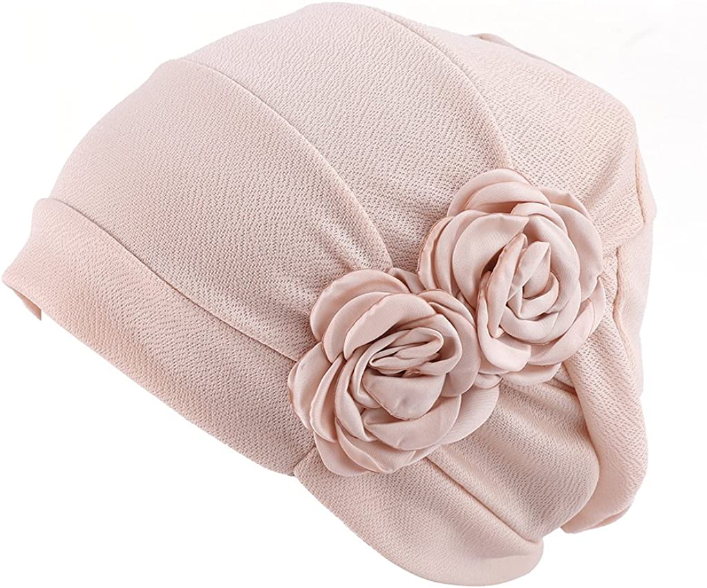 Womens Elegant Strench Flower Turban Band Scarf Beanie Cap Hat for Cancer Patient