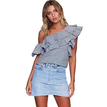 laimeng mujeres Casual Off Shoulder Blusa Moda sin mangas volantes camiseta