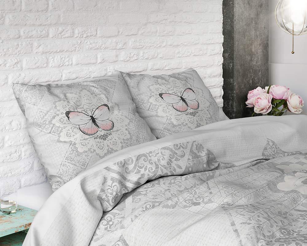 SLEEP TIME Housse De Couette Coton Papillon avec 1 taie doreiller 60cm x 70cm 140cm x 220cm Gris