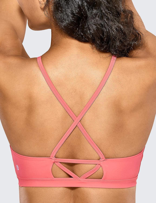 CRZ YOGA Womens High Neck Bikini Top Spaghetti Strap Sports Bra Swimsuit Criss Cross Bathing Suits