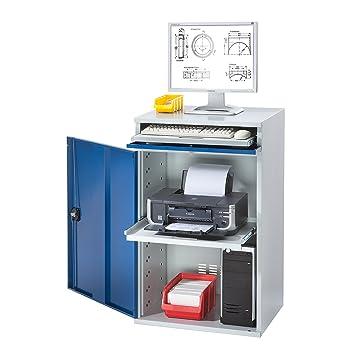 EUROKRAFT Computer-Arbeitsstation, Stahlblech - HxB 1060 x 650 mm ...