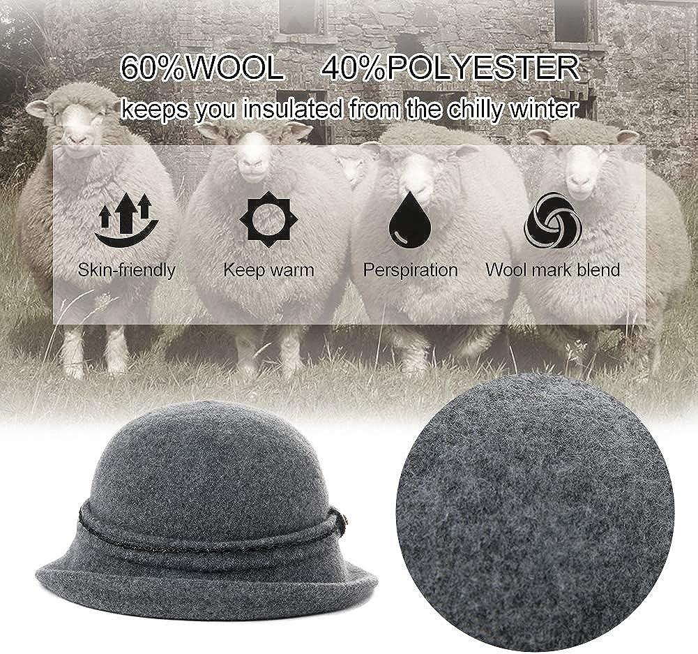 Fancet Faltbarer Glockenhut Damen 60/% Wolle Fedora warme Bucket Vintage
