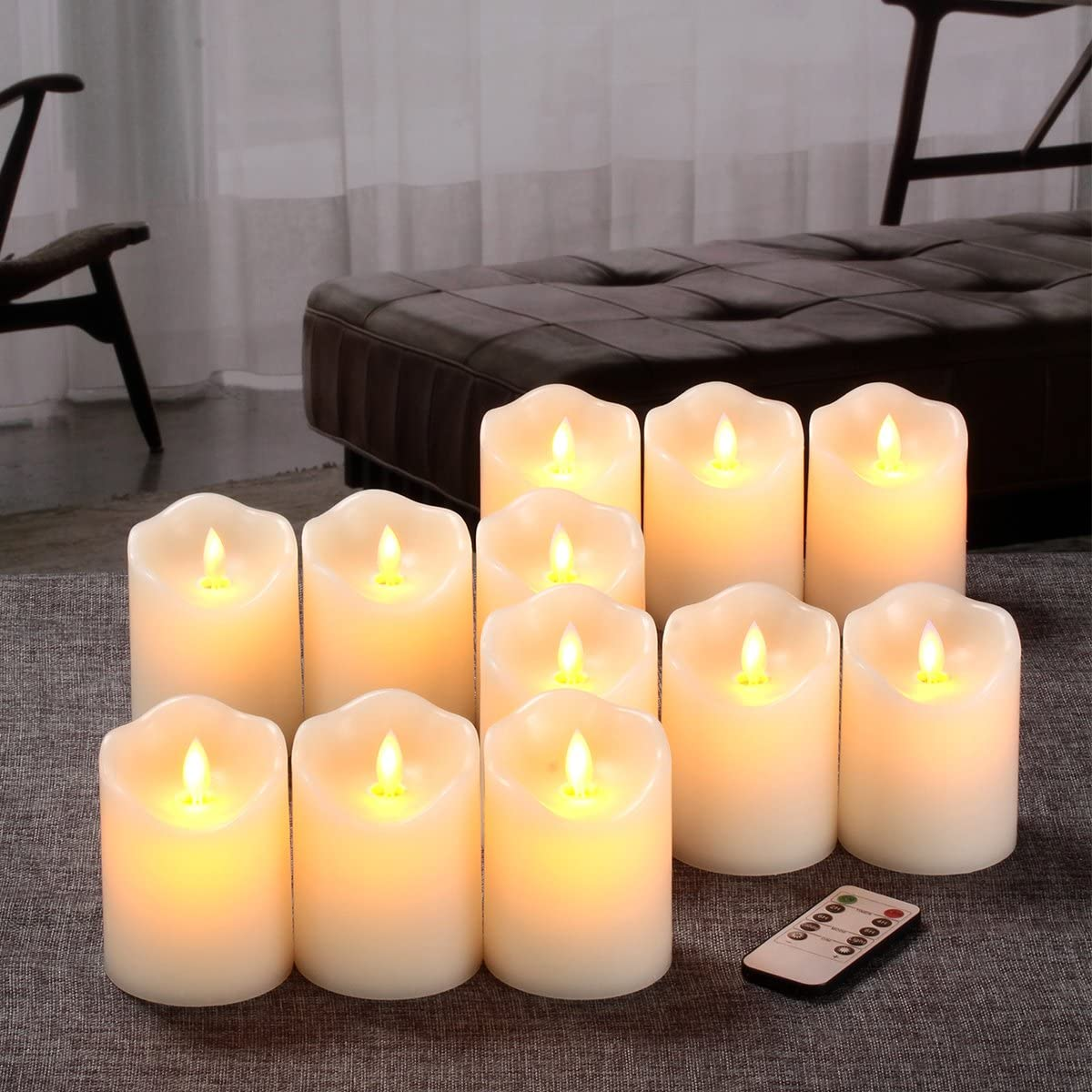 Flameless Candles Flickering Battery Operated LED Candles Set of 12 D 3 X H 4 Ivory Real Wax Pillar with Moving Flame 10-Key Remote Control and Cycling 24 Hours Timer
