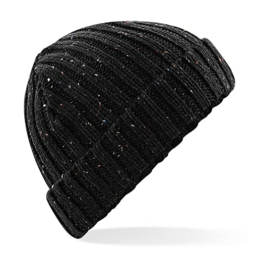 5ddadc4b854 Amazon.com  Beechfield Unisex Rustic Fleck Beanie (One Size) (Black)   Clothing
