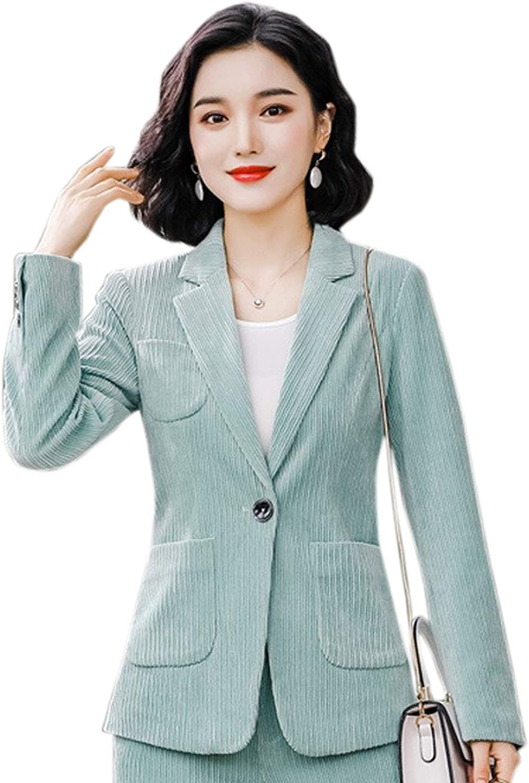 WSLCN Damen Elegant Hosenanz/üge Cord B/ügelfreier Blazer Sakko Anzug Jacke Business Sets