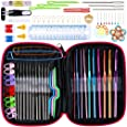 Anpro Crochet Hooks Set 100pcs Knitting Tool Accessories with Pink Case