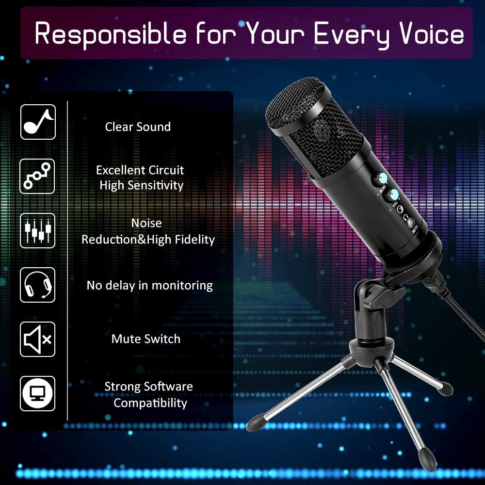 USB Microphone,Multipurpose Condenser Microphones for Computer,Laptop,Plug/&Play Microphone with Desktop Stand for Gaming,Recording,Broadcasting,Meeting,Voice Overs and Streaming
