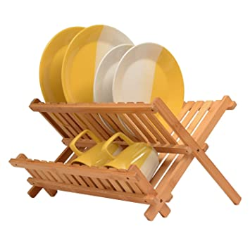 Bamboo Dish Rack Folding Dish Drainer Wooden Plate Rack Collapsible