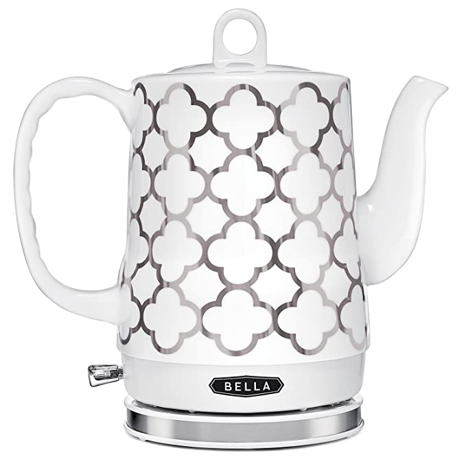 BELLA (14522) 1.2 Liter Electric Ceramic Tea Kettle with Detachable Base & Boil Dry Protection, Silver Tile best electric tea kettle