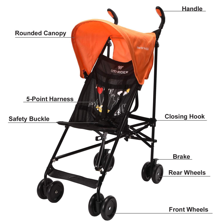 Wonder buggy Lightweight Baby Jumbo Umbrella Stroller with Rounded Hood (Orange) by Wonder buggy (Image #4)
