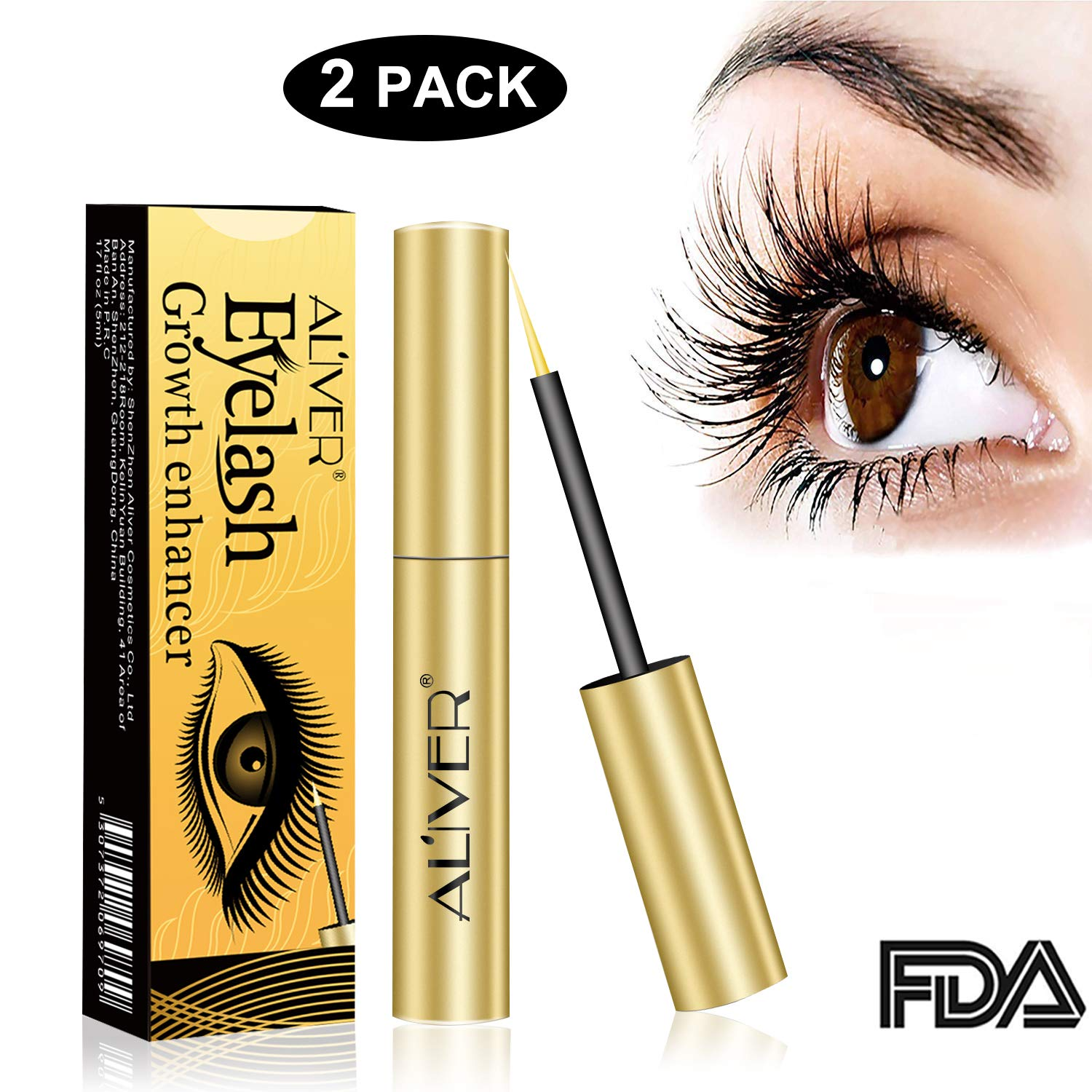 da1512205d6 Amazon.com: Eyelash Growth Serum Brow Serum for Long ,Rapid Grow Long Thick  Full Eyelashes and Eyebrows 2PCS: Beauty