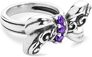 product image for Carolyn Pollack Sterling Silver Purple Amethyst or Red Garnet Gemstone Bow Ring Size 05 to 10