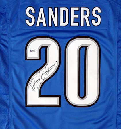 1536c6685ec Detroit Lions Barry Sanders Autographed Blue Nike Twill Jersey Size M -  Beckett COA at Amazon s Sports Collectibles Store