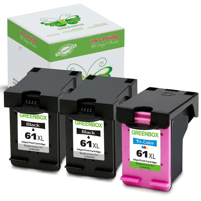 GREENBOX Remanufactured 61XL 61 XL Ink Cartridge (2 Black, 1 Tri-Color) Used in Envy 4500 5530 5534 5535, Deskjet 2540 1000 1010 1512 1510 2510 3050, Officejet 4630 2620 4635 Printer