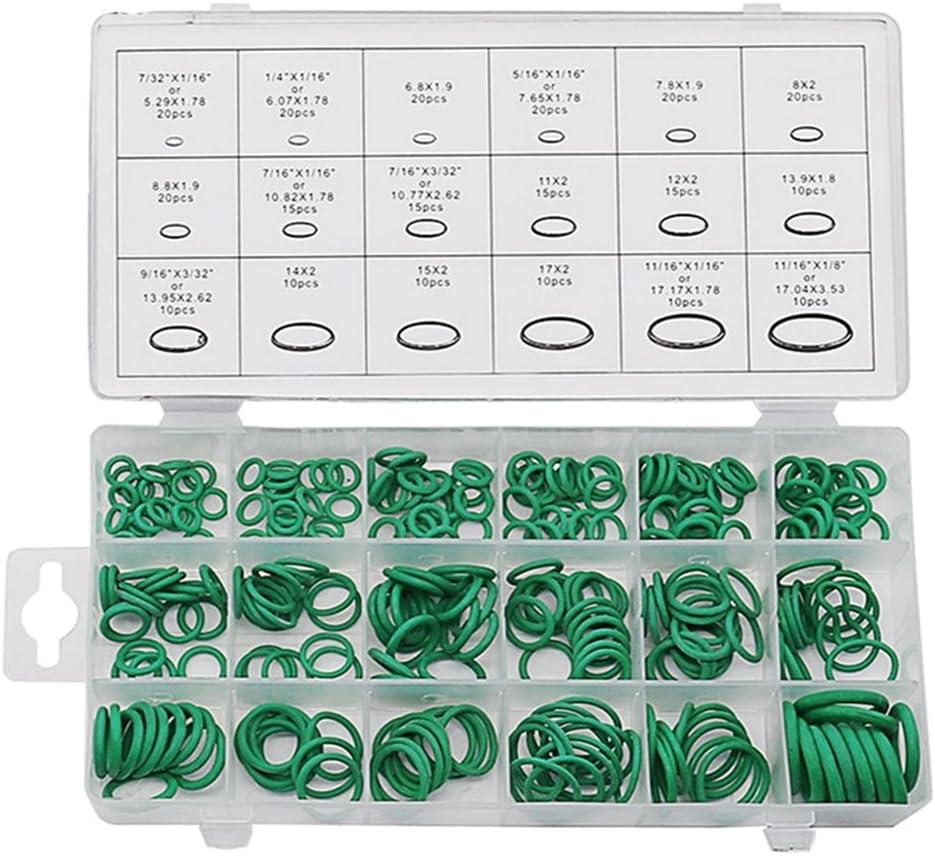 Magideal Set de 225 Piezas Hnbr A//C Sistema Aire Acondicionado Juntas T/óricas Juego Herramientas de Color Negro