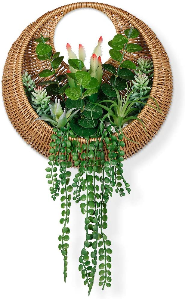 Keleer Mixed Green Succulents in Weaving Basket Wall Planter, Artificial Succulents Planted in Bamboo Basket for Wall Decor and Door Wreath, Artificial Plants and Succulents Wall Decor