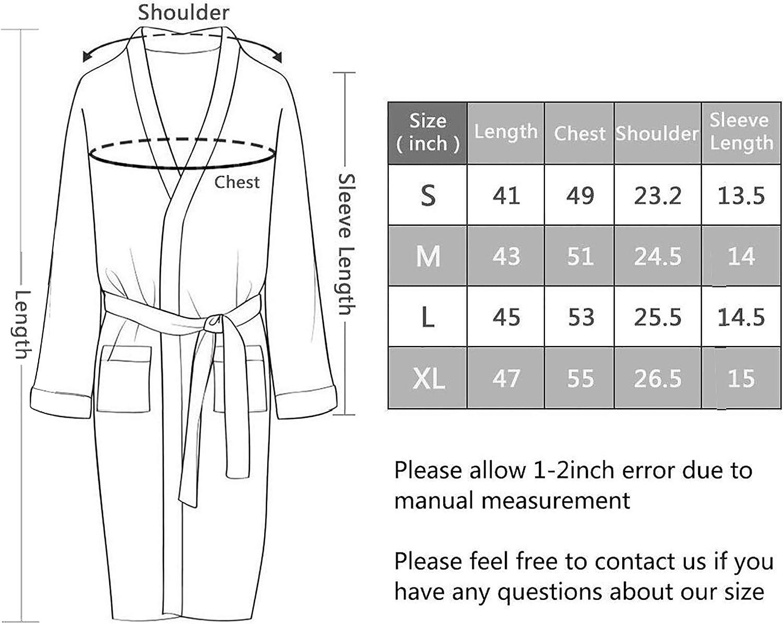 Qubskry Mens Kimono Robe Cotton Waffle Spa Bathrobe Lightweight Soft Knee Length Sleepwear with Pockets