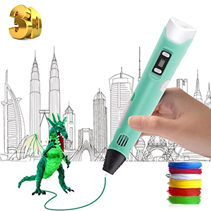 3D Pen with LED Display 3D Printing Pen Temperature Control 3D Drawing Pens for Kids and Adults Arts Crafts Model DIY Blue Non-Clogging