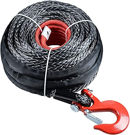92ft x 1//2 Synthetic Dyneema Rope Cable Protective Sleeve 22000LBs ATV Truck
