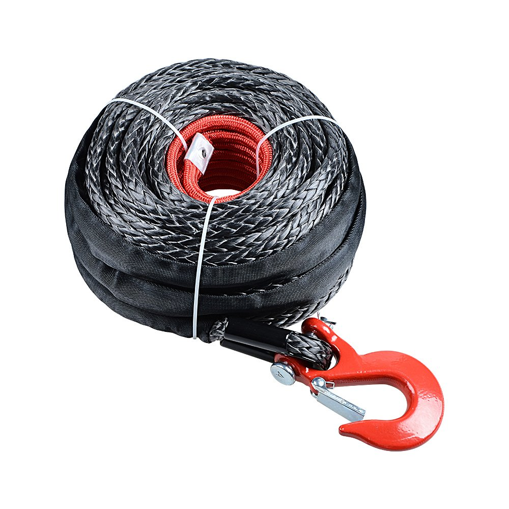 Astra Depot 92ft x 1/2'' Synthetic Winch Rope 22000LBs Protective Sleeve + RED Hook for Jeep ATV UTV KFI Truck Boat Ramsey by Astra Depot