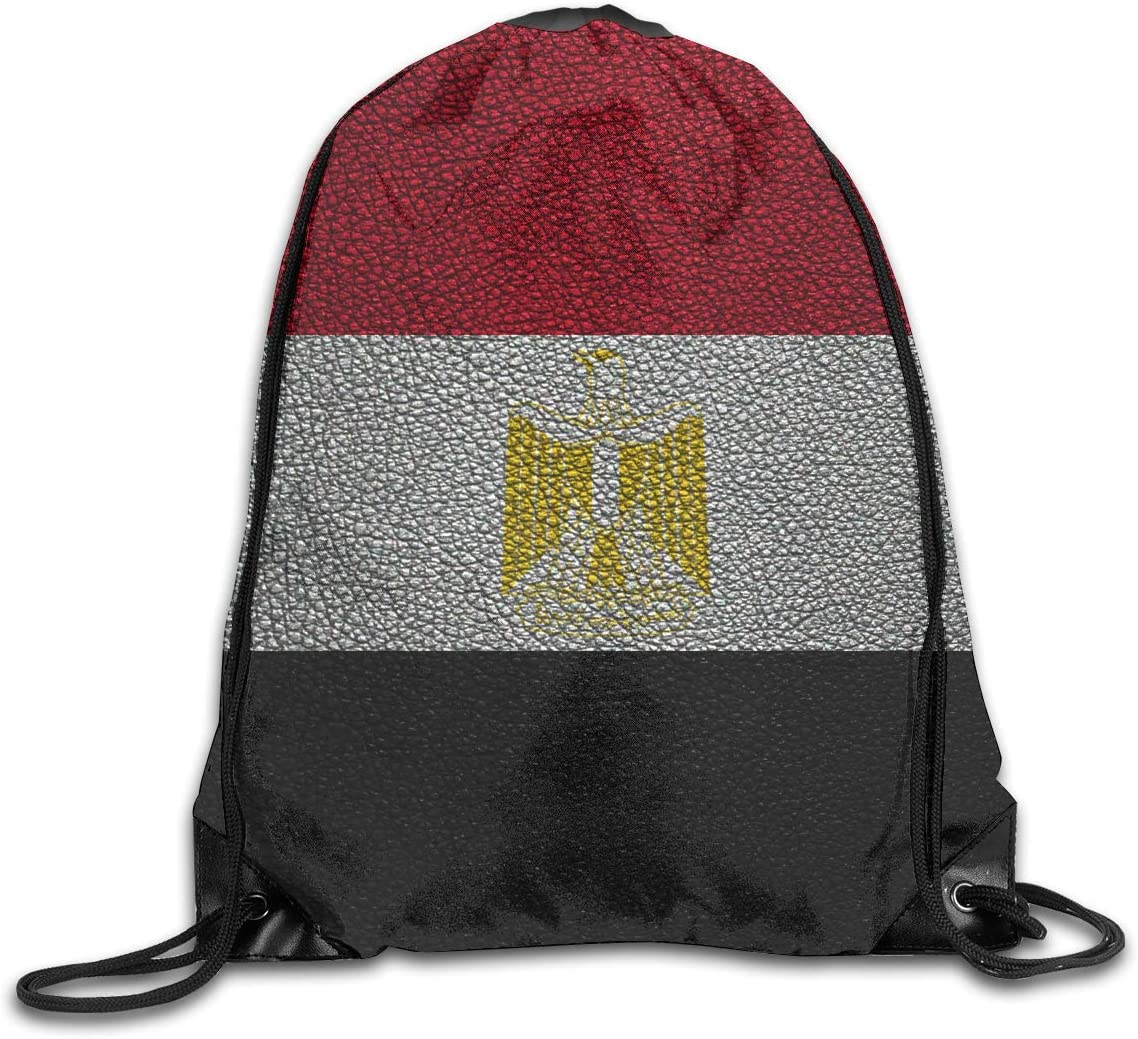 CoolStuff Travel Shoe Bags,Flag of Egypt Leather Drawstring Backpack Hiking Climbing Gym Bag,Large Big Durable Reusable Polyester Footwear Protection