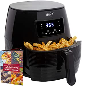 Deco Chef Digital Electric Air Fryer with Accessories and Cookbook- Air Frying, Roasting, Baking, Crisping, and Reheating for Healthier and Faster Cooking (Black)
