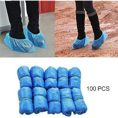 VANKER 100 (50 paires) Piezas Desechables Zapato,cubrecamas desechables resisten el agua, la suciedad y el barro.