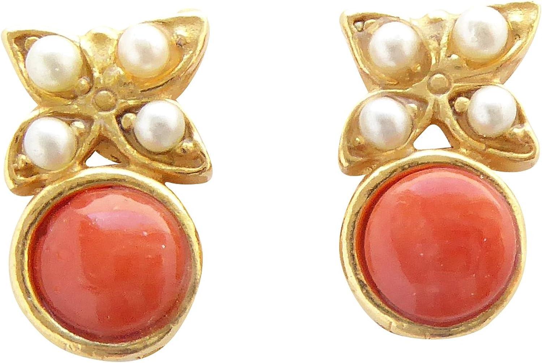 Pequeños y divertidos pendientes de coral de color naranja-rojo perlas de agua dulce plata chapados en oro, hechos a mano únicos, regalo italiano para mujeres y niñas retro