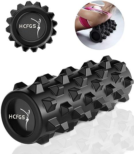 Huachengfa Rodillo de espuma – Trigger Point con masaje profundo – YOGA PILATES para músculos y equilibrio ejercicios, 13 inch-Black