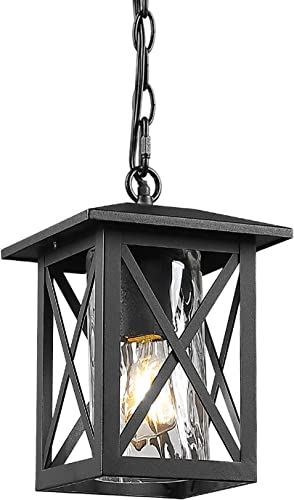 Beionxii Outdoor Pendant Light Exterior Hanging Lantern Porch Pendant Lights, Sand Textured Black with Water Rippled Glass – A330H-1PK