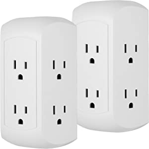 GE Pro 6 Outlet Surge Protector Adapter Spaced Tap, 2 Pack, 3-Prong Power Strip, Charging Station, Side Access, White, 50038