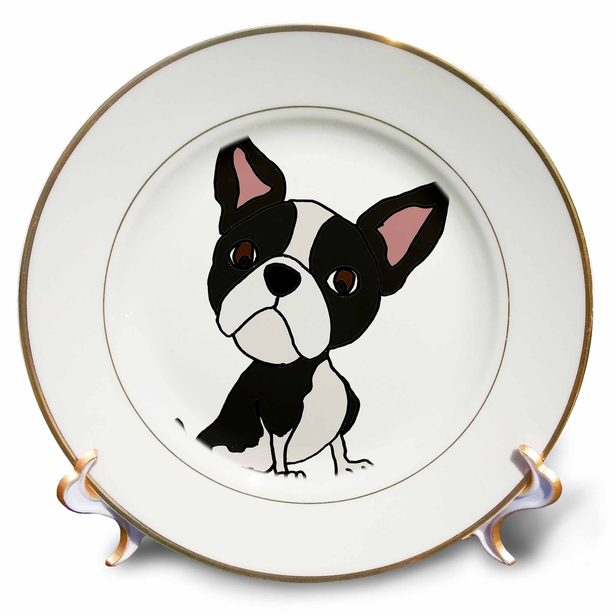3dRose Funny Cute Boston Terrier Puppy Dog Art Cartoon Porcelain Plate, by 3dRose (Image #1)