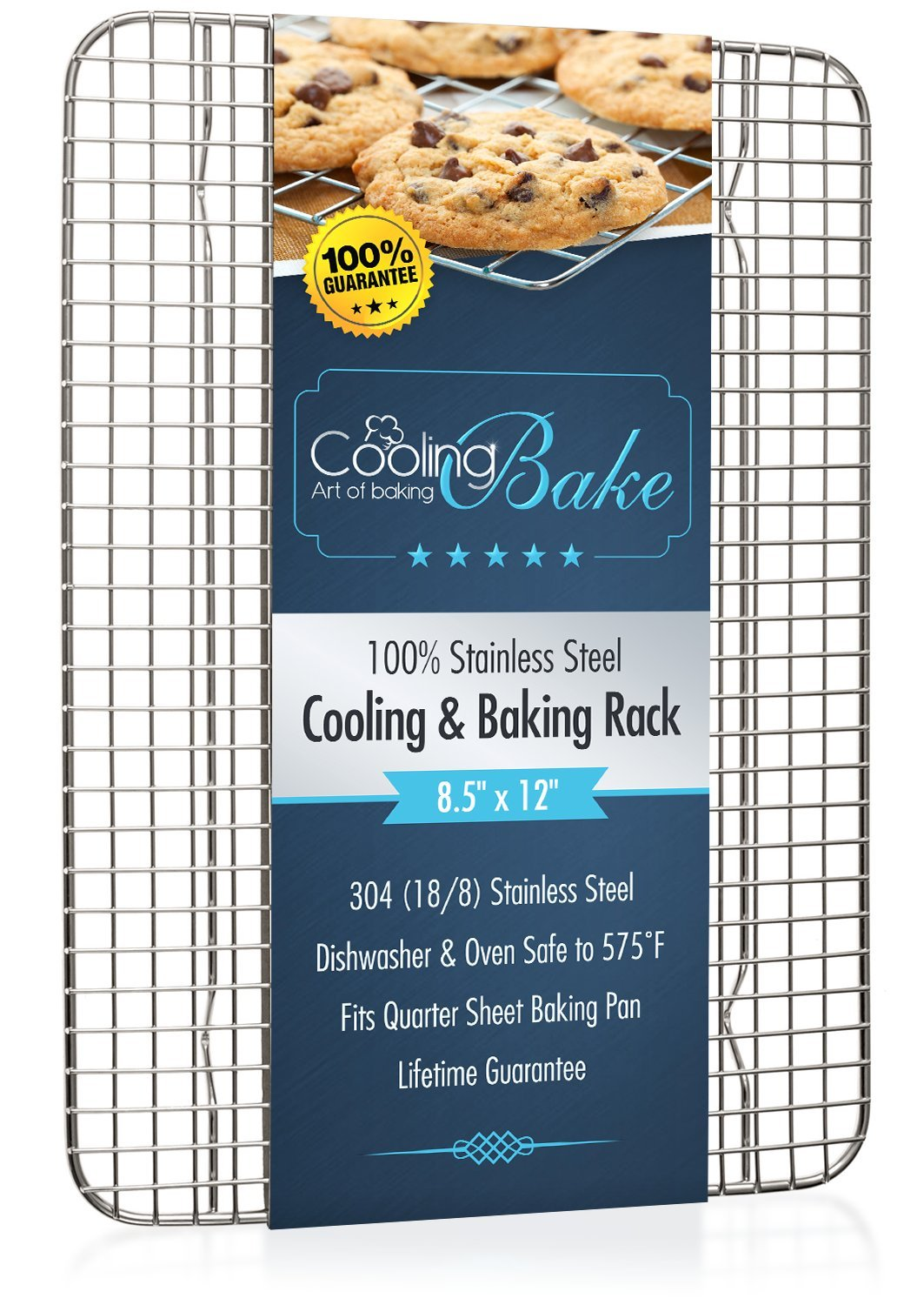 "Stainless Steel Cooling Rack fits Quarter Sheet Baking Pan, Oven Safe Rust-Resistant, Heavy Duty (8.5"" x 12"")"