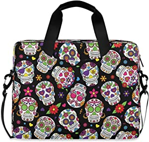 CCDMJ Laptop Case Mexican Skull Flower Floral Laptops Sleeve Shoulder Messenger Bag Briefcase Notebook Computer Tablet Bags with Strap Handle for Women Man Boys Girls 16 Inch