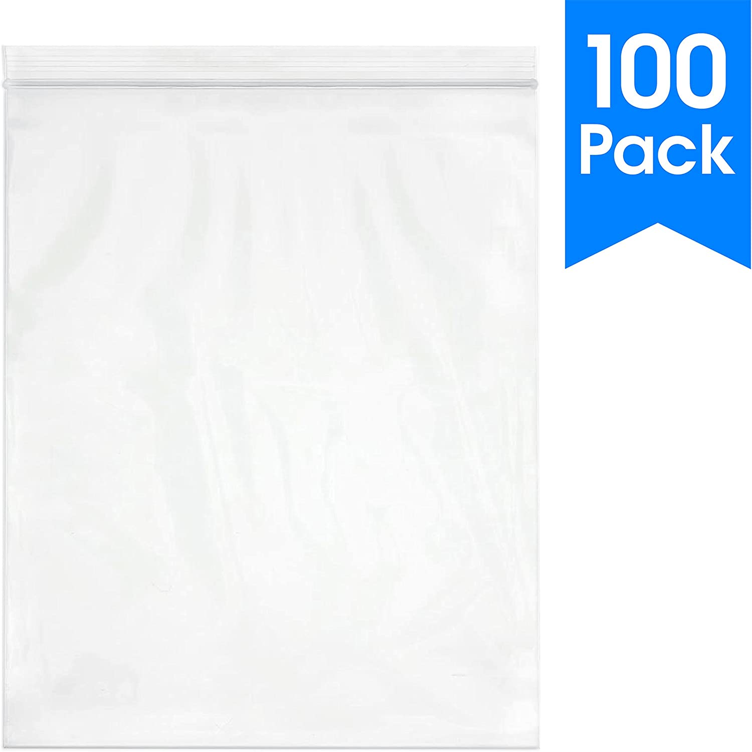 "Spartan Industrial || 100 Count - 13 X 15"" - 2 Gallon Clear Plastic Reclosable Zip Poly Bags with Resealable Lock Seal Zipper - 2 Mil (More Sizes Available)"