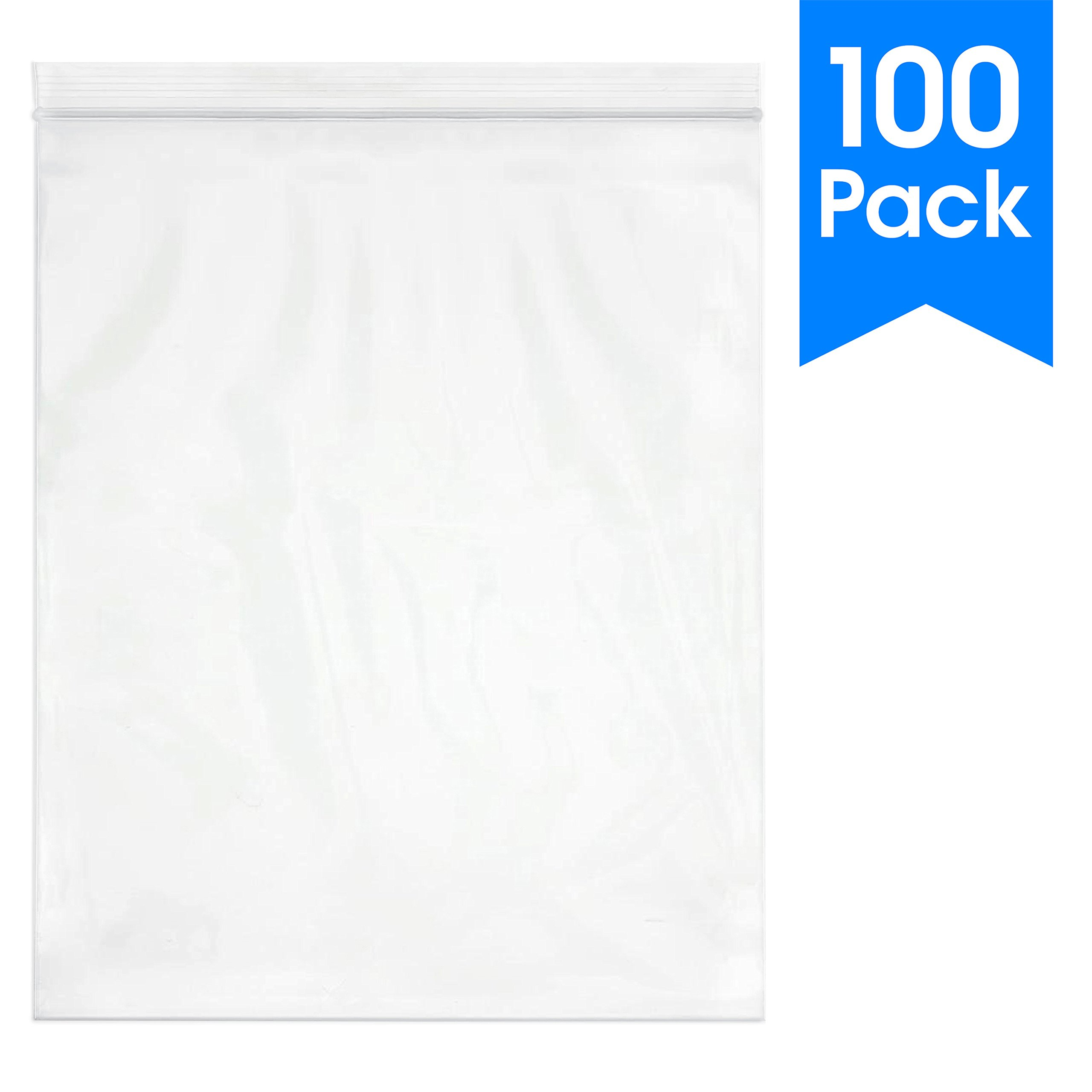 100 Count - 13 X 15, 2 Mil Clear Plastic Reclosable Zip Poly Bags with Resealable Lock Seal Zipper by Spartan Industrial (More Sizes Available)
