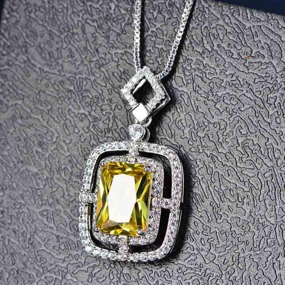 FISISZ Plata de Ley Esmeralda Citrino Piedras Preciosas Piedra de Nacimiento Oro Blanco Colgante Collar Joyas Mujeres, Amarillo