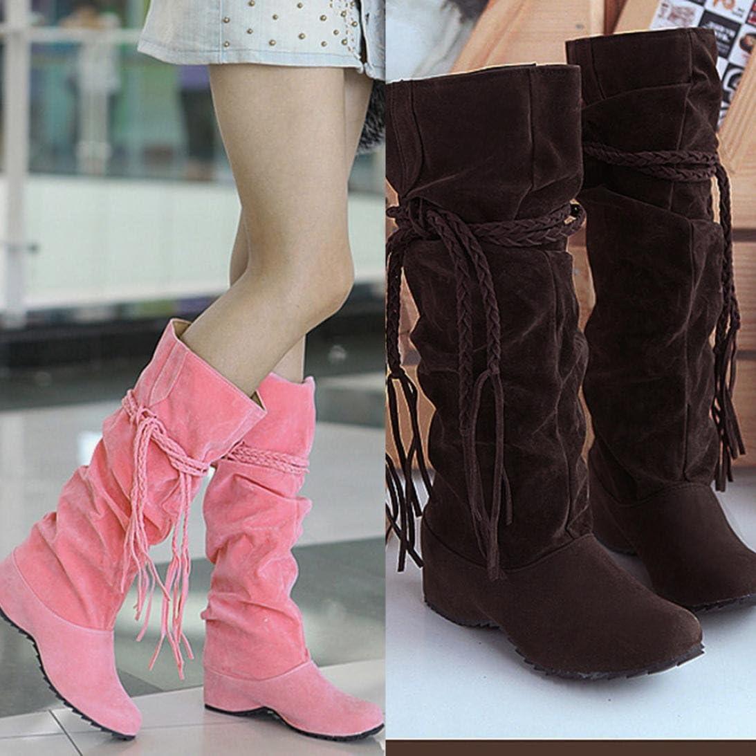 Damen Lang Stiefel OVERMAL Stretch Slim Stiefel High Stiefel Quaste Stiefel High Heels Stiefel