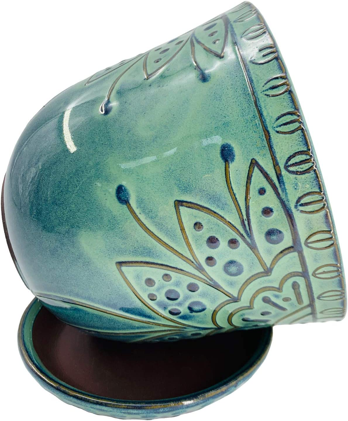 Indoor-Outdoor Large Round Succulent Orchid Pot Shrimp Green Gepege 6 Inch Beaded Ceramic Planter Set of 2 with Drainage Hole and Saucer for Plants