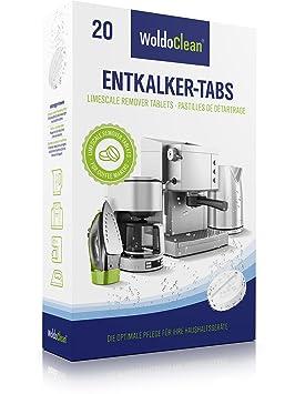 Descalcificador Cafetera Pastillas de descalcificación - 20x 16g Tabletas para máquina de café, Compatible con marcas Delonghi, Dolce Gusto, Nespresso, ...