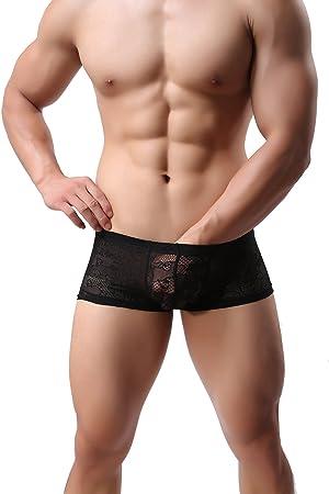 Hombres Boxer Encaje Sexy Slips Bragas Estuche Abultado Ropa Interior Escarpado De Poca Altura Calzoncillos 3