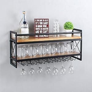 LENGEN Modern Wine Rack Wall Mounted,2 Layer Bottle & Glass Holder,36 Wine Storage Stemware Glass Rack,Metal & Wood Display Racks,Home & Kitchen Decor Storage Rack,Black