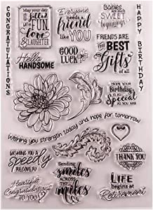 Flowers Leaves Birthday Retirements Phrase Stamp Rubber Clear Stamp/Seal Scrapbook/Photo Album Decorative Card Making Clear Stamps