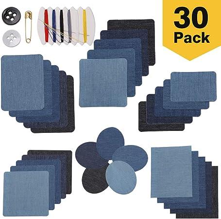 Parches Ropa Termoadhesivos, LAOYE 30 Piezas De Hierro En Parches De Mezclilla Para Ropa Jeans, 5 Colores / 6 Tamaños: Amazon.es: Hogar
