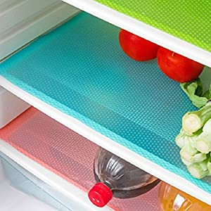 Cafurty 4 Pcs Refrigerator Mats, Fridge Mats Can Be Cut Fridge Pads Waterproof Fridge Pad Cabinet Protective Pads Shelves Drawer Table Mats 17.7x11.4X 0.04IN- Blue